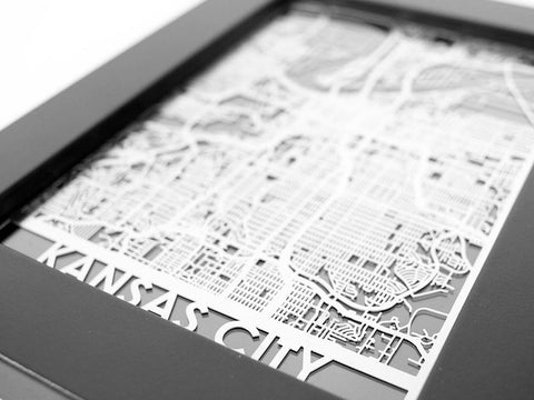 "Kansas City - Stainless Steel Map - 5""x7"" - Cut Maps - 1"