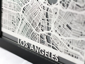 "Los Angeles - Stainless Steel Map - 5""x7"""