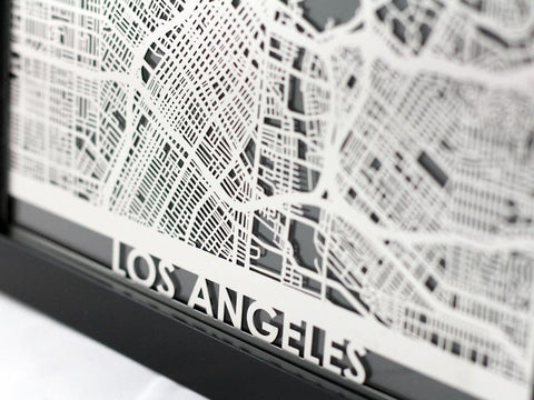 "Los Angeles - Stainless Steel Map - 5""x7"" - Cut Maps - 1"
