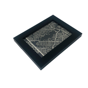 "Lakewood - Stainless Steel Map - 5""x7"""