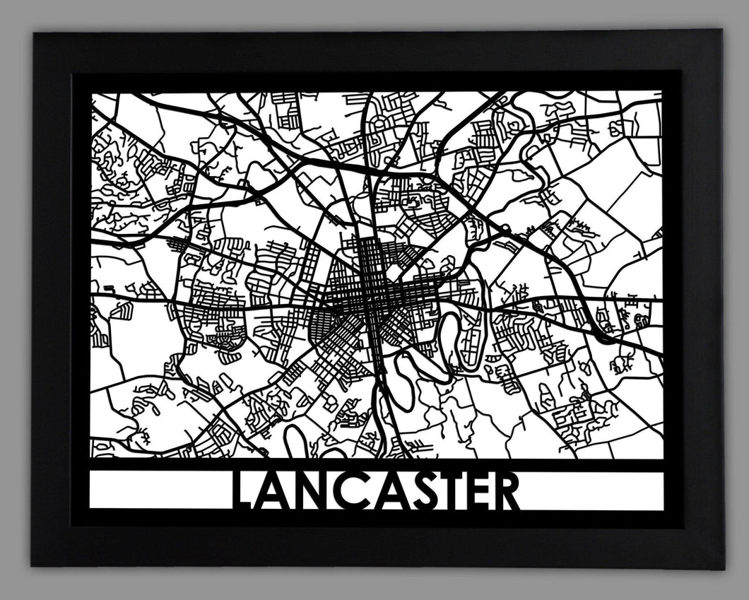 Lancaster - Cool Cut Map Gift