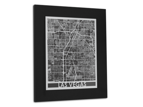 "Las Vegas - Stainless Steel Map - 11"" x 14"" - Cool Cut Map Gift"