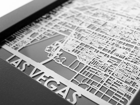 "Las Vegas - Stainless Steel Map - 5""x7"" - Cool Cut Map Gift"