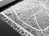 "Lexington - Stainless Steel Map - 5""x7"" - Cool Cut Map Gift"