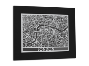 "London | Stainless Steel Map | 11"" x 14"" - Cool Cut Map Gift"
