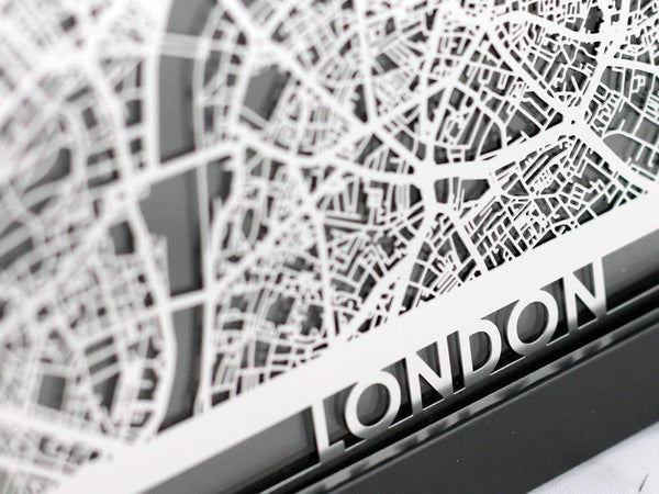 "London - Stainless Steel Map - 5""x7"" - Cool Cut Map Gift"