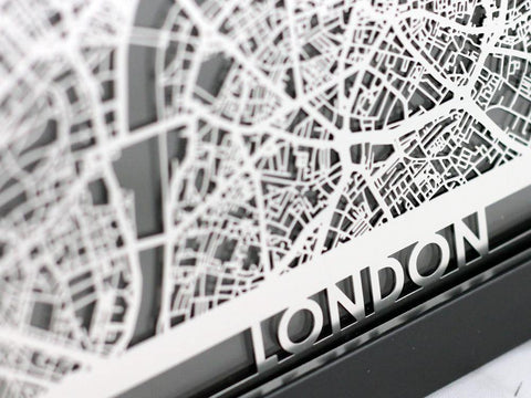 "London - Stainless Steel Map - 5""x7"" - Cut Maps - 1"