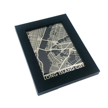 "Load image into Gallery viewer, Long Island City - Stainless Steel Map - 5""x7"""