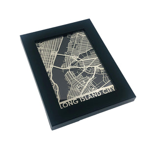 "Long Island City - Stainless Steel Map - 5""x7"""