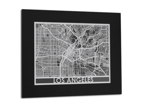 "Los Angeles - Stainless Steel Map - 11"" x 14"" - Cut Maps - 1"