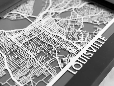 "Louisville - Stainless Steel Map - 5""x7"" - Cool Cut Map Gift"