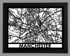 Manchester - Cool Cut Map Gift
