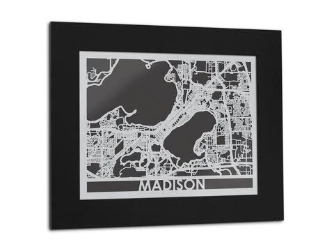 "Madison - Stainless Steel Map - 5""x7"" - Cool Cut Map Gift"