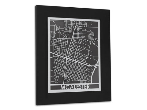 "McAlester - Stainless Steel Map - 11"" x 14"""