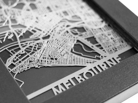 "Melbourne - Stainless Steel Map - 5""x7"" - Cool Cut Map Gift"