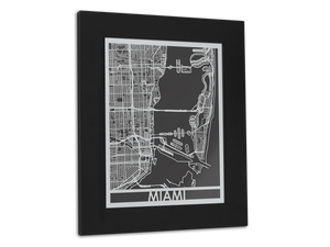 "Miami - Stainless Steel Map - 11"" x 14"" - Cool Cut Map Gift"