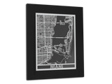 "Miami - Stainless Steel Map - 11"" x 14"" - Cut Maps - 1"