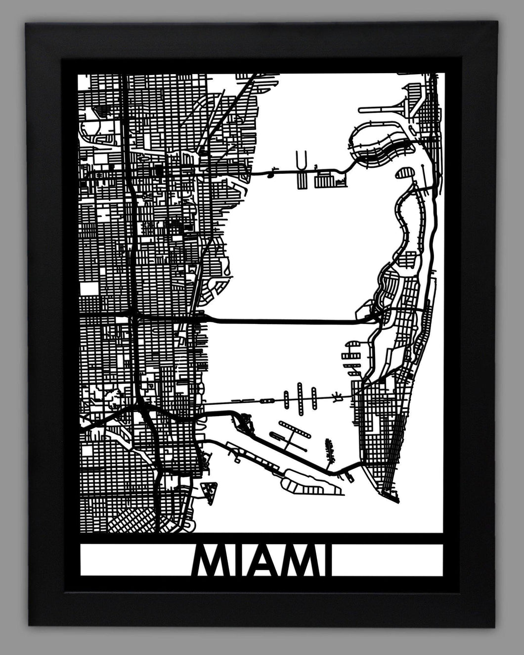 Miami - Cool Cut Map Gift