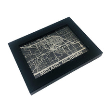 "Load image into Gallery viewer, Midland, MI - Stainless Steel Map - 5""x7"""