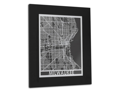 "Milwaukee - Stainless Steel Map - 11"" x 14"" - Cut Maps - 1"