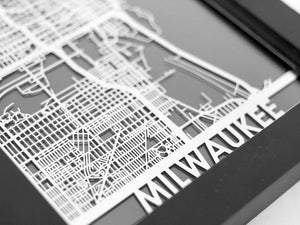 "Milwaukee - Stainless Steel Map - 5""x7"" - Cool Cut Map Gift"