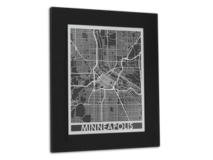 "Minneapolis - Stainless Steel Map - 11"" x 14"" - Cool Cut Map Gift"