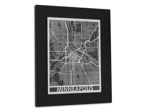 "Minneapolis - Stainless Steel Map - 11"" x 14"" - Cut Maps - 1"