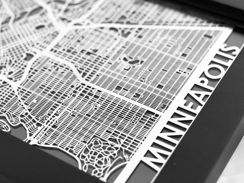 "Minneapolis - Stainless Steel Map - 5""x7"" - Cut Maps - 1"