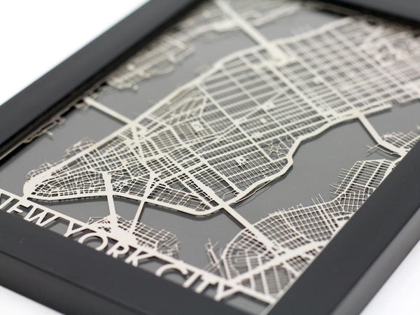 "New York City - Stainless Steel Map - 5""x7"" - Cool Cut Map Gift"