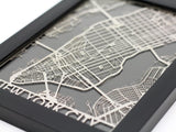 "New York City - Stainless Steel Map - 5""x7"" - Cut Maps - 1"