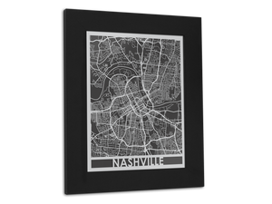 "Nashville | Stainless Steel Map | 11"" x 14"" - Cool Cut Map Gift"