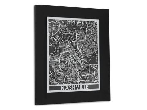 "Nashville | Stainless Steel Map | 11"" x 14"" - Cut Maps - 1"