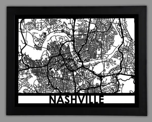 Nashville - Cool Cut Map Gift