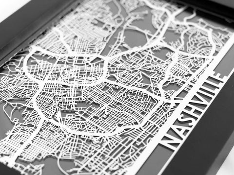 "Nashville - Stainless Steel Map - 5""x7"" - Cut Maps - 1"