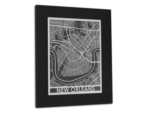 "New Orleans - Stainless Steel Map - 11"" x 14"" - Cut Maps - 1"