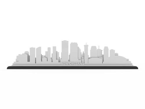 New Orleans Stainless Steel Skyline - Cool Cut Map Gift
