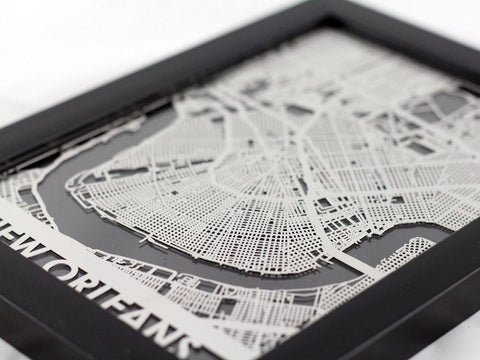 "New Orleans - Stainless Steel Map - 5""x7"" - Cut Maps - 1"