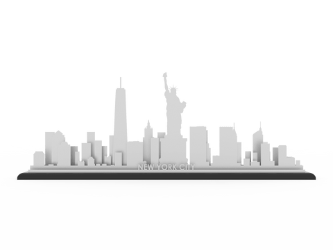 New York Stainless Steel Skyline - Cool Cut Map Gift