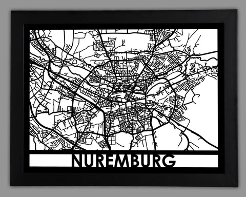Metal Wall Art - Nuremberg City Map | Cut Map Gift – Cut Maps