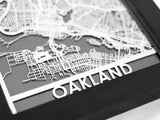 "Oakland - Stainless Steel Map - 5""x7"" - Cut Maps - 1"