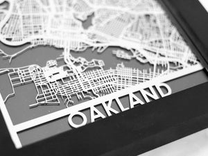 "Oakland - Stainless Steel Map - 5""x7"" - Brad's Deals"