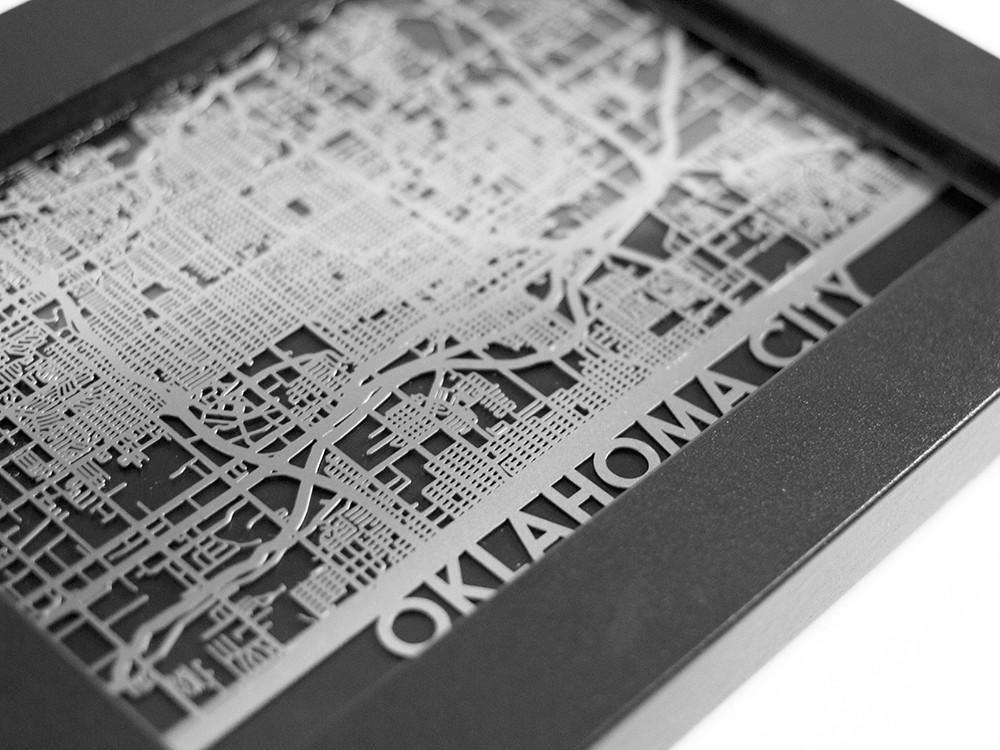 Oklahoma City - Stainless Steel Map - 5