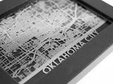 "Oklahoma City - Stainless Steel Map - 5""x7"" - Cut Maps - 1"