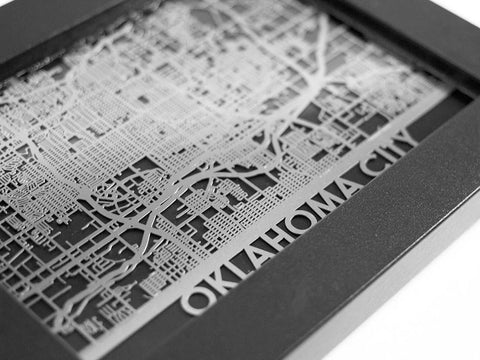 "Oklahoma City - Stainless Steel Map - 5""x7"" - Cool Cut Map Gift"
