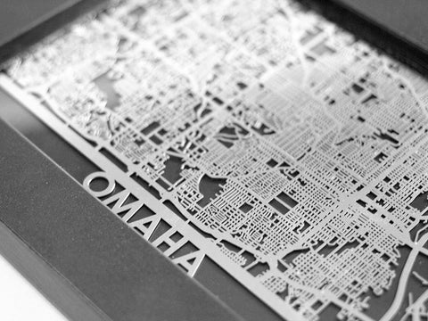 "Omaha - Stainless Steel Map - 5""x7"" - Cool Cut Map Gift"