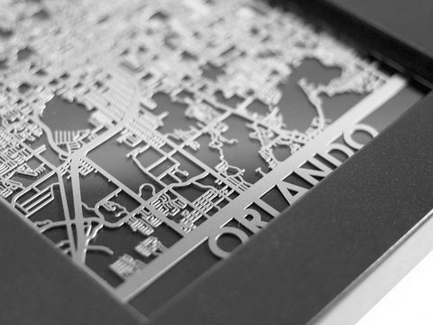 "Orlando - Stainless Steel Map - 5""x7"" - Cool Cut Map Gift"