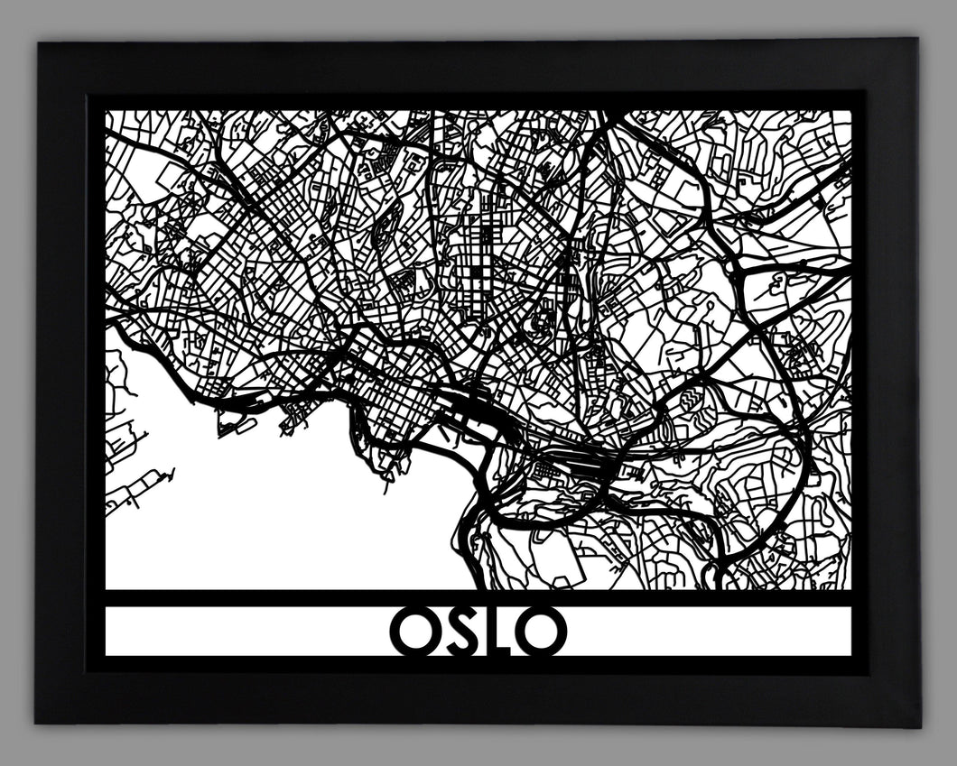 Oslo - Cool Cut Map Gift