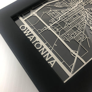 "Owatonna - Stainless Steel Map - 5""x7"""