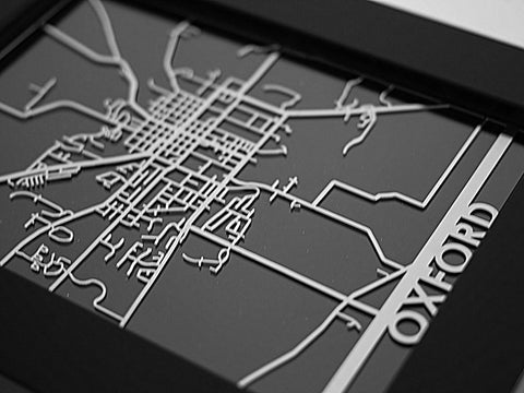"Oxford, OH - Stainless Steel Map - 5""x7"" - Cool Cut Map Gift"