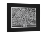 "Paris - Stainless Steel Map - 11"" x 14"" - Cut Maps - 1"